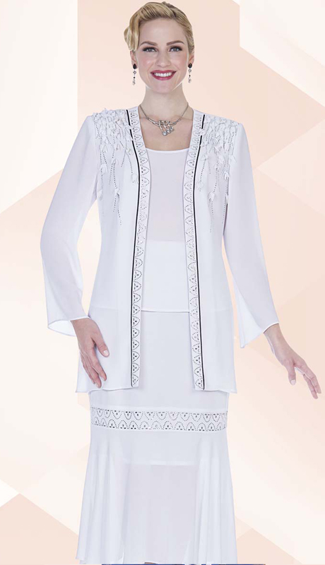 Christie By Aussie Austine 680 ( 3pc Georgette Womens Church Suit With Rhinestone Details And Leaf Shape Applique Jacket , Cami And Skirt )