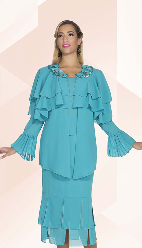 Christie By Aussie Austine 662 ( 3pc Georgette Womens Suit With Scallop And Rhinestone Embellished Collar, Layered Ruffle Jacket, Flounce Sleeve, Cami And Pleated Skirt )
