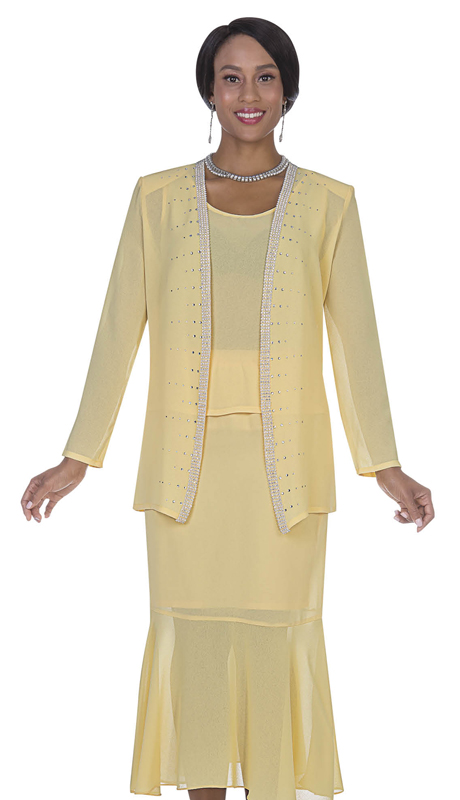 Christie By Aussie Austine 667-BA ( Double Georgette Womens Suit With Flounch Skirt )