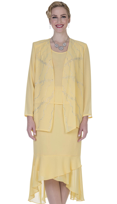 Christie By Aussie Austine 669-BA ( Double Georgette Rufffle Flounce Hem Skirt Suit )