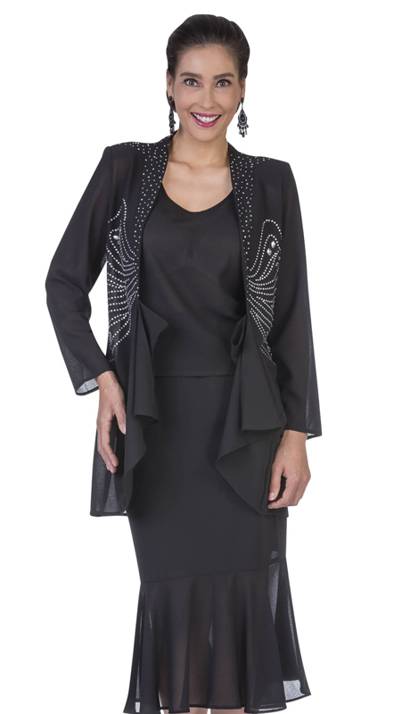 Christie By Aussie Austine 672-BK ( Double Georgette Skirt Suit With Flounce Hem And Embellished Jacket )