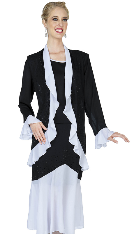 Christie By Aussie Austine 681-BW ( Ruffled Trim Double Georgette Skirt Suit With Pleated Flounce Hem )