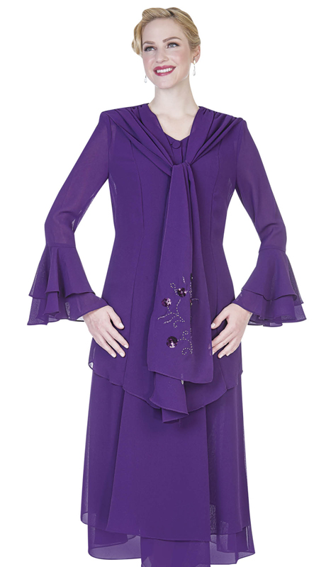 Christie By Aussie Austine 640-PU ( Double Georgette Skirt Suit With Handkerchief Flounce Hem )