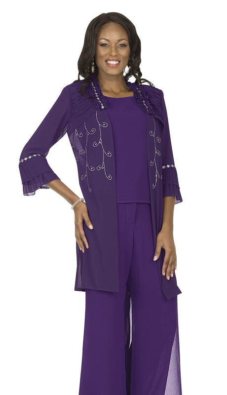 Christie By Aussie Austine 675-PU ( Double Georgette Pant Suit With Layered Bell Cuff Sleeves )