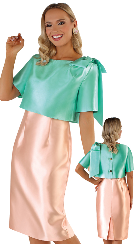 Chancelle 9541-AC ( 2pc Silk Look Jacket With Bow Detail And Sleeveless Dress )