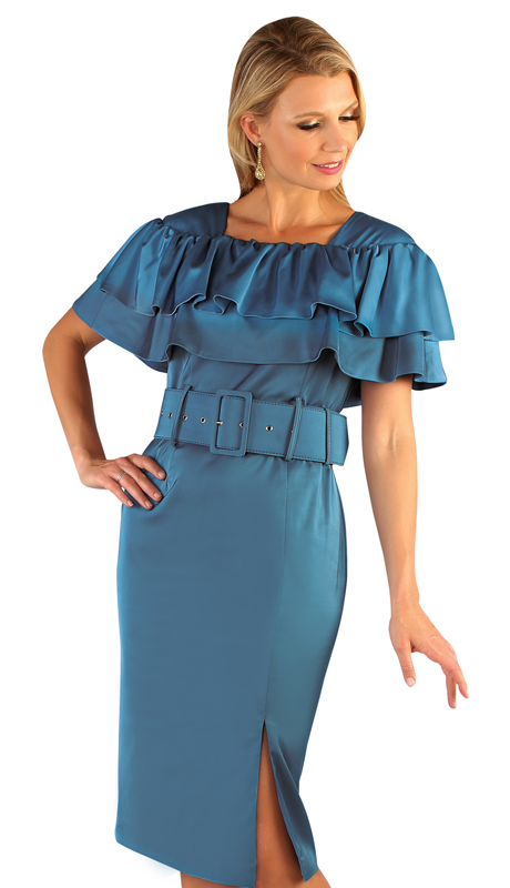 Chancelle 9625-LB ( 1pc Silk Look Double Ruffle Sheath Dress with Wide Belt )