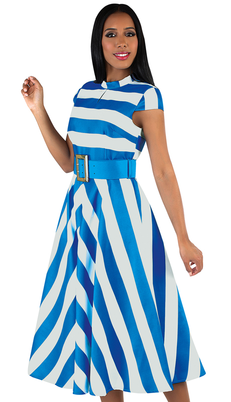 Chancelle 9530-TW ( 1pc Silk Look Stripe Dress In Gorgeous Silhouette With Wide Belt )