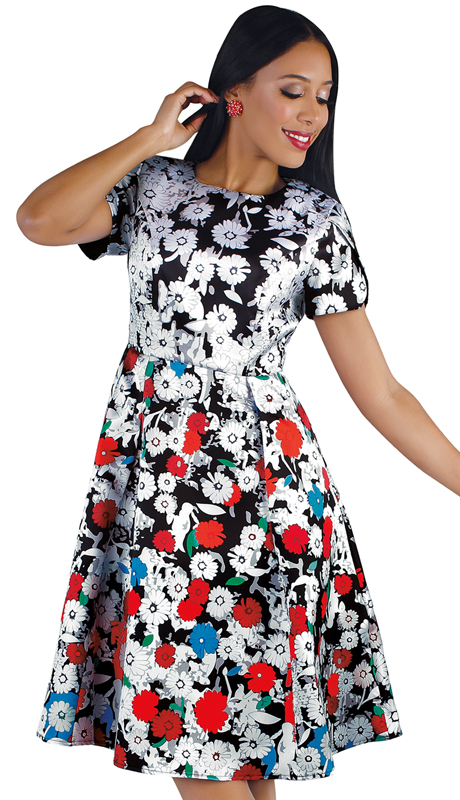 Chancelle 9557-FP ( 1pc Novelty Pop Art Floral Print Dress )