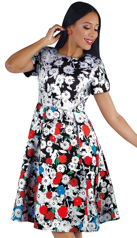 Chancelle 9557-FP ( 1pc Novelty Pop Art Floral Print Dress )