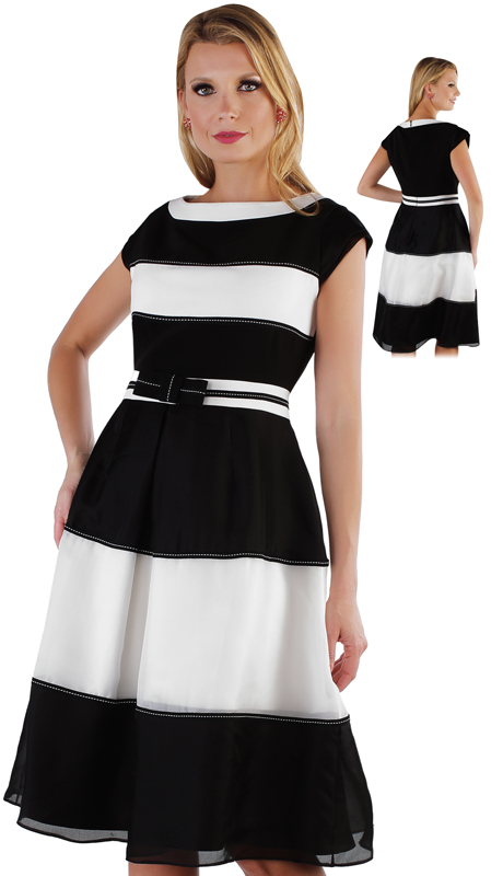 Chancelle 9551-BW ( 1pc Pick Stitch Detail Striped Crepe Top And Organza Layered Dress )