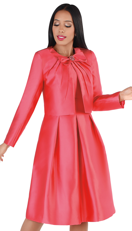 Chancelle 9549-SA ( 2pc Silk Look Jacket With Bow And Sleeveless Dress With Box Pleats )