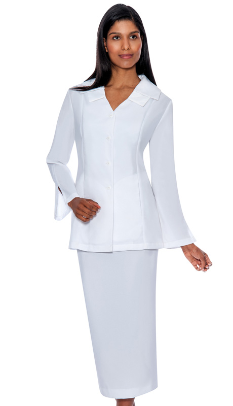 G12777-WH ( 2pc PeachSkin GMI Church And Choir Suit ) <b>( Unlined )</b>