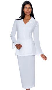 G12777-WH ( 2pc PeachSkin GMI Church And Choir Suit ) <b>( Unlined )</b>