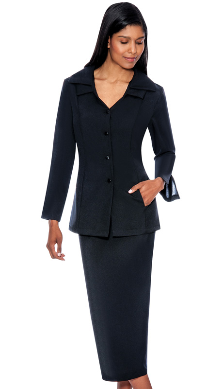 G12777-BLK ( 2pc PeachSkin GMI Church And Choir Suit ) <b>( Unlined )</b>