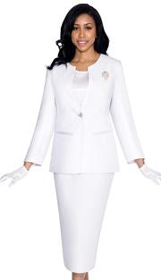 G13273-WH ( 3pc PeachSkin GMI Church And Choir Suit ) <b> ( Each Suit Includes Free Pair Of White Gloves )</b>