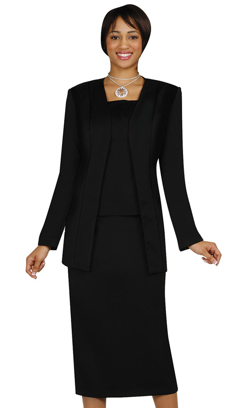 G13270-BLK ( 3pc PeachSkin GMI Church And Choir Suit ) <b> ( Each Suit Includes Free Pair Of White Gloves )</b>