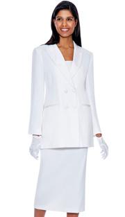 G12269-WH ( 3pc PeachSkin GMI Church And Choir Suit ) <b> ( Each Suit Includes Free Pair Of White Gloves )</b>