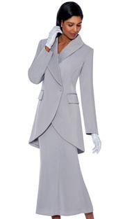 G2876-SIL ( 3pc PeachSkin GMI Church And Choir Suit ) <b> ( Each Suit Includes Free Pair Of White Gloves )</b>