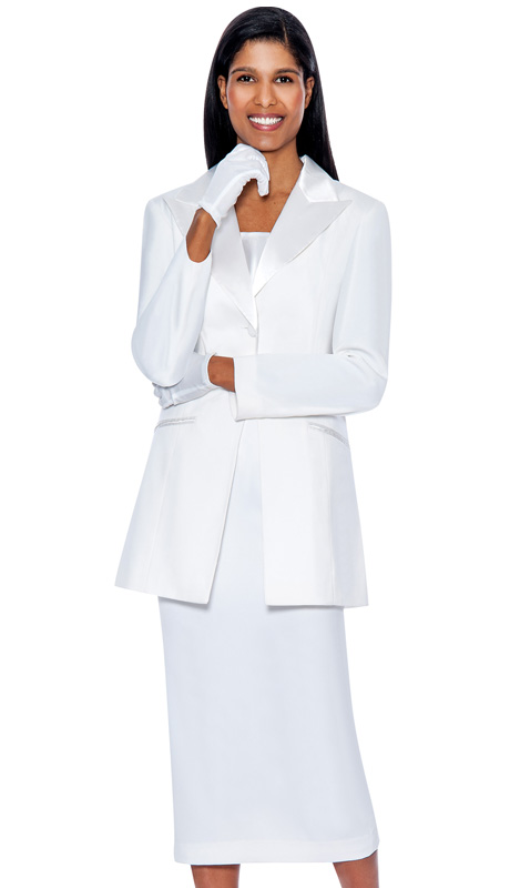 G13271-WHT ( 3pc PeachSkin GMI Church And Choir Suit ) <b> ( Each Suit Includes Free Pair Of White Gloves )</b>