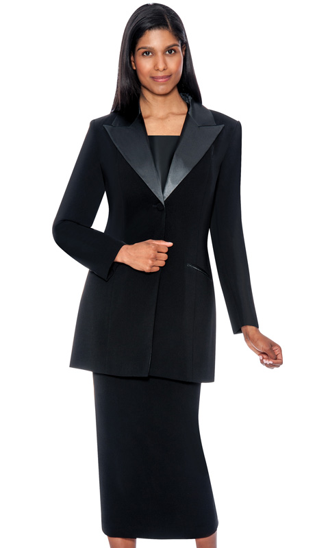 G13271-BLK ( 3pc PeachSkin GMI Church And Choir Suit ) <b> ( Each Suit Includes Free Pair Of White Gloves )</b>