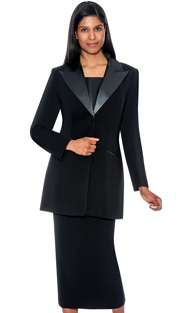 G13271-BLK ( 3pc PeachSkin GMI Church And Choir Suit ) <b> ( Each Suit Includes Free Pair Of White Gloves )</b>