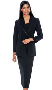 G12272-BLK ( 3pc PeachSkin GMI Church And Choir Suit ) <b> ( Each Suit Includes Free Pair Of White Gloves )</b>