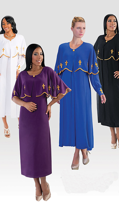 Tally Taylor 3257-RG-CO  ( 3pc Georgette Womens Sunday Dress With Gold Trim And Cross Motif )