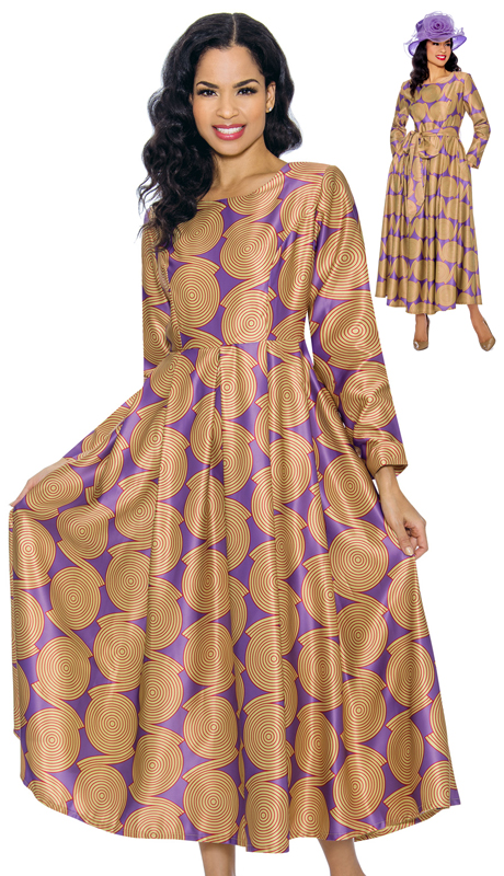 Giovanna D1354-GV ( 1pc Printed Silk Look Church Dress With Belt )