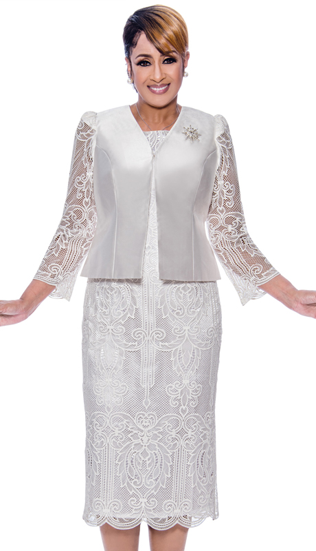 Dorinda Clark Cole 2752-IH ( 2pc Lace Illusion Design Womens Church Dress with Jacket )