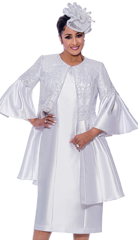 Dorinda Clark Cole 2642-IH ( 2pc Ladies Silk Look Sunday Dress With Flounce Sleeves And Embroidery On Jacket )