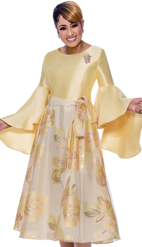 Dorinda Clark Cole 2631-IH ( 2pc Silk Look Pleated A-Line Dress With Flounce Sleeves, Sash And Brooch )