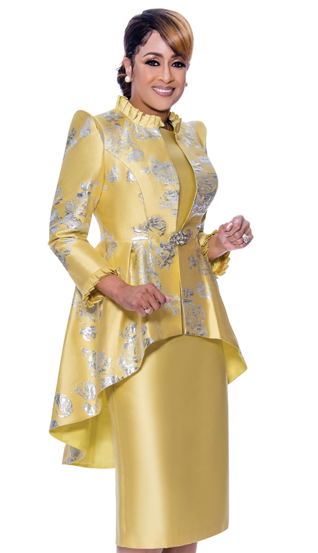 Dorinda Clark Cole 2622-IH ( 2pc Satin With Brocade Dress With Cap Sleeves, Pattern Jacket And High-Low Hem )