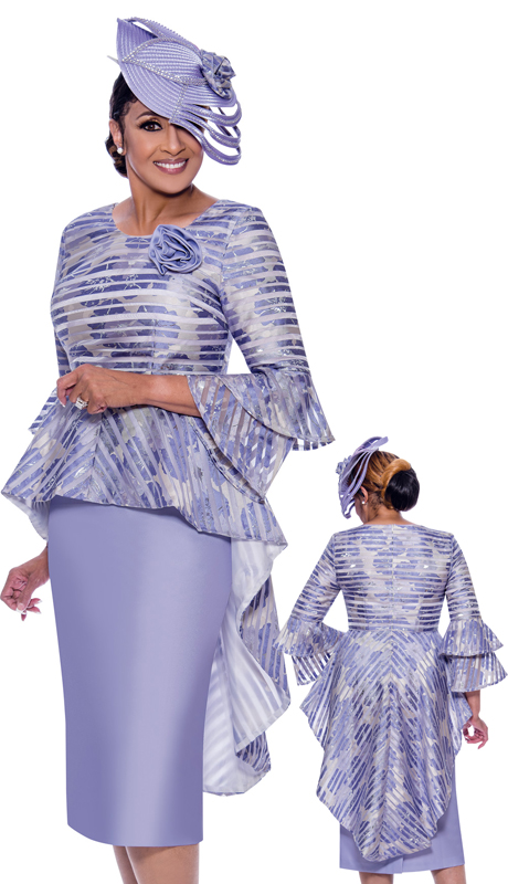 Dorinda Clark Cole 2612-IH ( 2pc Novelty With Silk Look Womens Skirt Suit For Church With Printed High Low Peplum Jacket )
