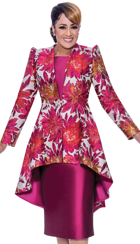 Dorinda Clark Cole 2562-IH ( 2pc Brocade With Silk Look Dress With Printed High Low Jacket )
