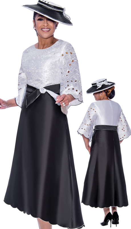 Dorinda Clark Cole 2551-IH ( 2pc Silk Look Womens Scalloped Hemline Church Dress With Sash And Cut Out Pattern Sleeves )