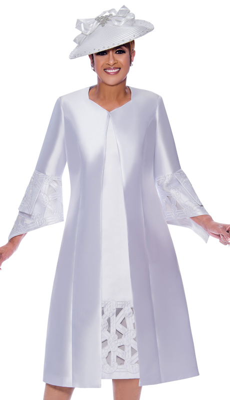 Dorinda Clark Cole 2512-WH-IH ( 2pc Womens Silk Look Church Dress With Geometric Embroidered Cut Out Design And Pointed Layered Sleeves )