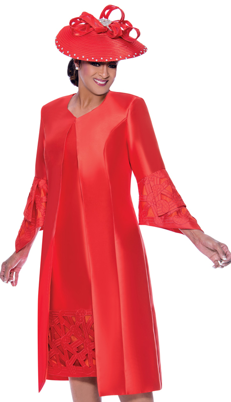 Dorinda Clark Cole 2512-O-IH ( 2pc Womens Silk Look Church Dress With Geometric Embroidered Cut Out Design And Pointed Layered Sleeves )