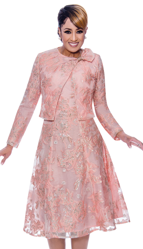 Dorinda Clark Cole 2462-CO ( 2pc Novelty Womens Printed Church Dress With Ornate Matching Jacket )