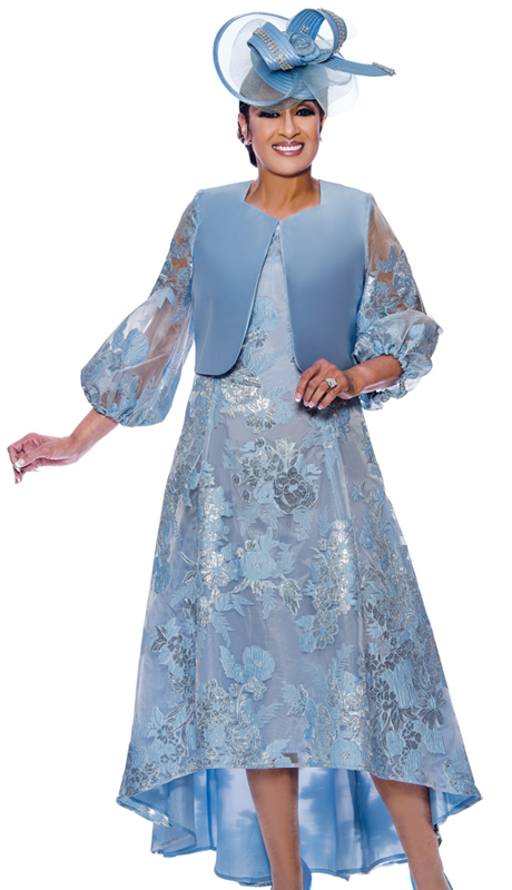 Dorinda Clark Cole 2452-IH ( 2pc Brocade With Silk Look Womens High Low Sunday Dress With Bishop Style Sleeves )