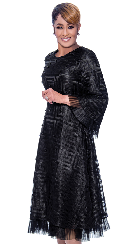 Dorinda Clark Cole 2171-BK-IH ( 1pc Womans Dress With Grecco Roman Pattern And Ruffled Organza Trim )