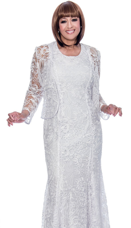 Dorinda Clark Cole 142 ( 2pc Organza Layered Ladies Church Dress With Soutache Detail )