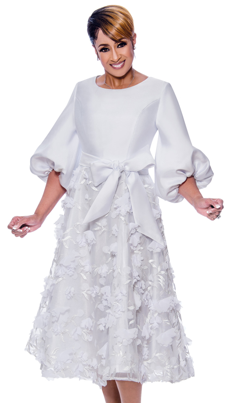 Dorinda Clark Cole 2671-IH ( 2pc Womens Organza Applique Layer Dress With Puff Sleeves And Sash )