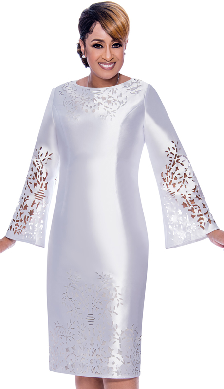 Dorinda Clark Cole 2651-WH ( 1pc Silk Look Ladies Dress For Sunday With Laser Cut-Out Bell Sleeves )