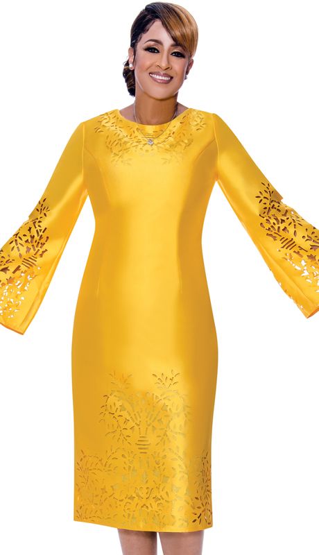 Dorinda Clark Cole 2651-YE ( 1pc Silk Look Ladies Dress For Sunday With Laser Cut-Out Bell Sleeves )