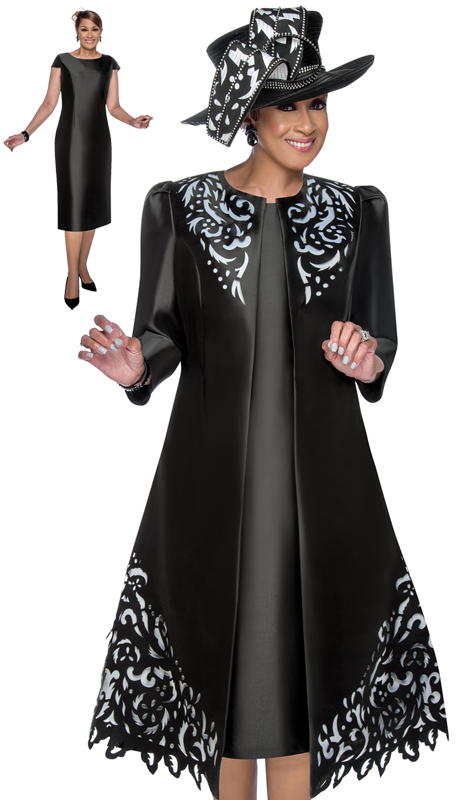 Dorinda Clark Cole 2842 ( 2pc Silk Look Womens Church Dress With Bold Laser Cut Lace Pattern )