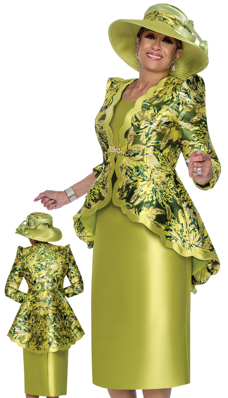 Dorinda Clark Cole 3052 ( 3pc Silk Look With Novelty First Ladies Church Suit With Elegant Scalloped Trim And Intricate Pattern )