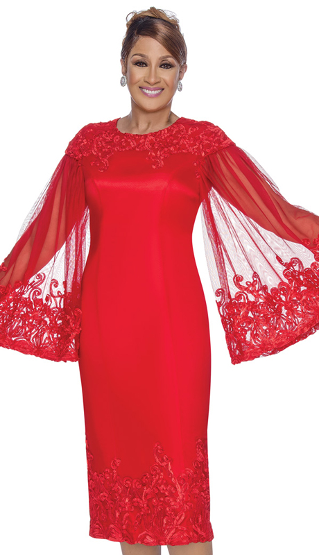 Dorinda Clark Cole 3061 ( 1pc Womens Silk Look Church Dress With Lace Embellished Trim And Transparent Flowing Sleeves )
