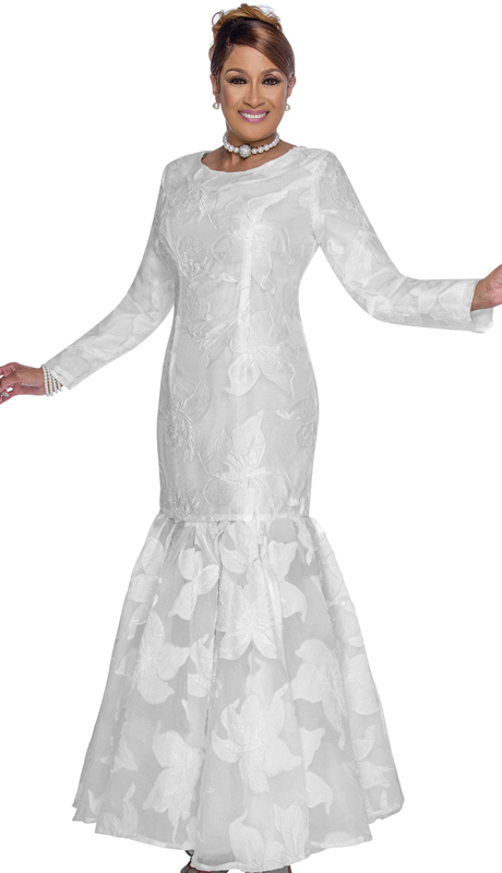 Dorinda Clark Cole 3091 ( 1pc Novelty First Ladies Church Dress With Flare Bottom And Natural Pattern Overlay )