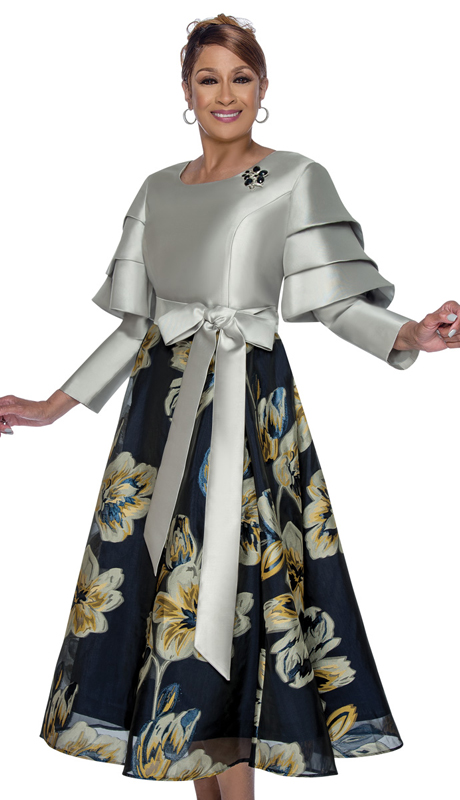 Dorinda Clark Cole 3101 ( 1pc First Ladie Silk Look Sunday Dress With Elegant Tiered Sleeves, Sash, And Printed Bottom )