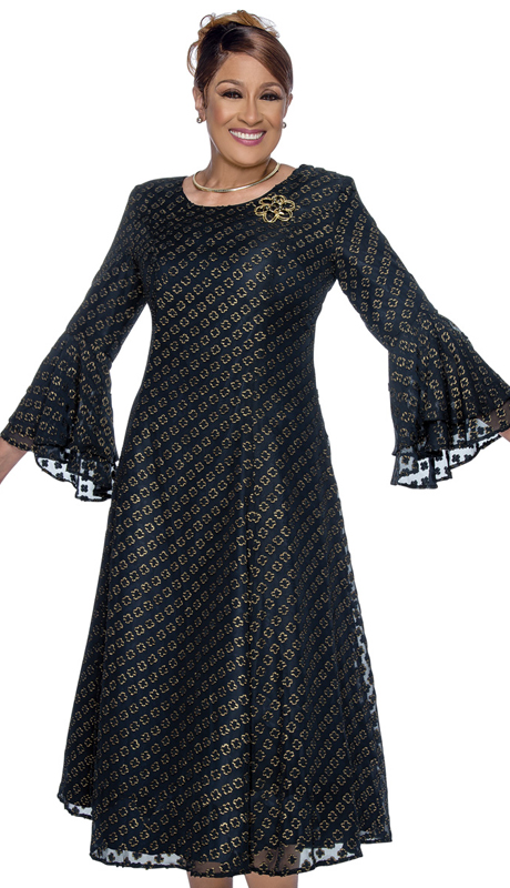 Dorinda Clark Cole 3121 ( 1pc Novelty Womens Sunday Dress With Flare Sleeves And Intricate Design Pattern )